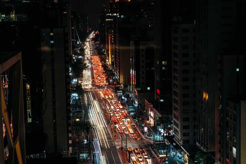 aerial photography of street during night time