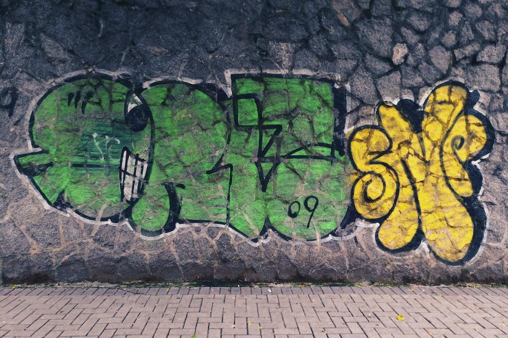 green and yellow graffiti