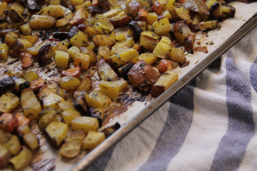 close-up photo of cooked vegetables on tray
