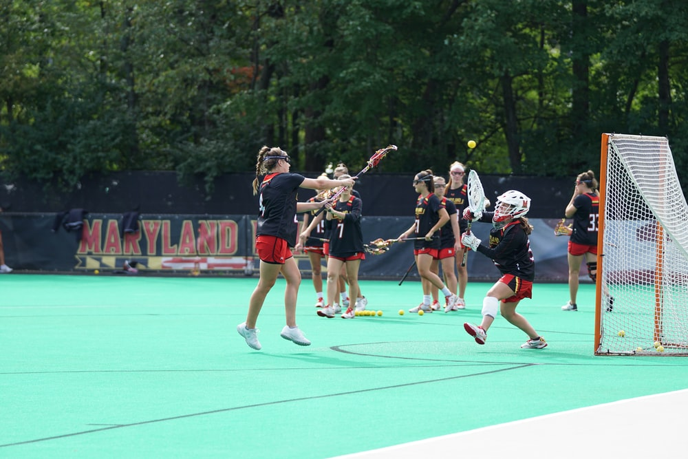 group of girls playing lacrosse