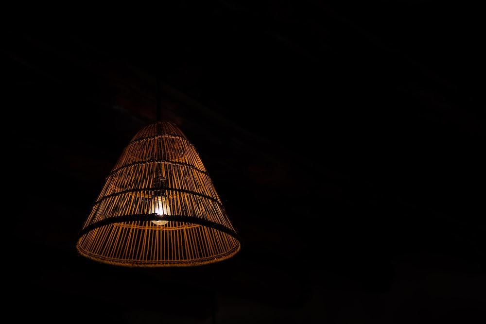 pendant lamp turned on