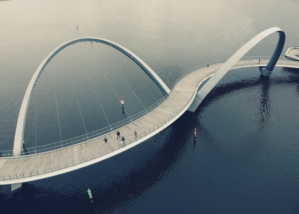 aerial photography of zigzagging bridge