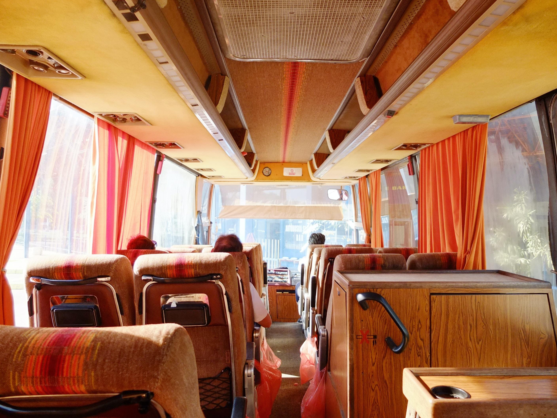 brown wooden interior bus