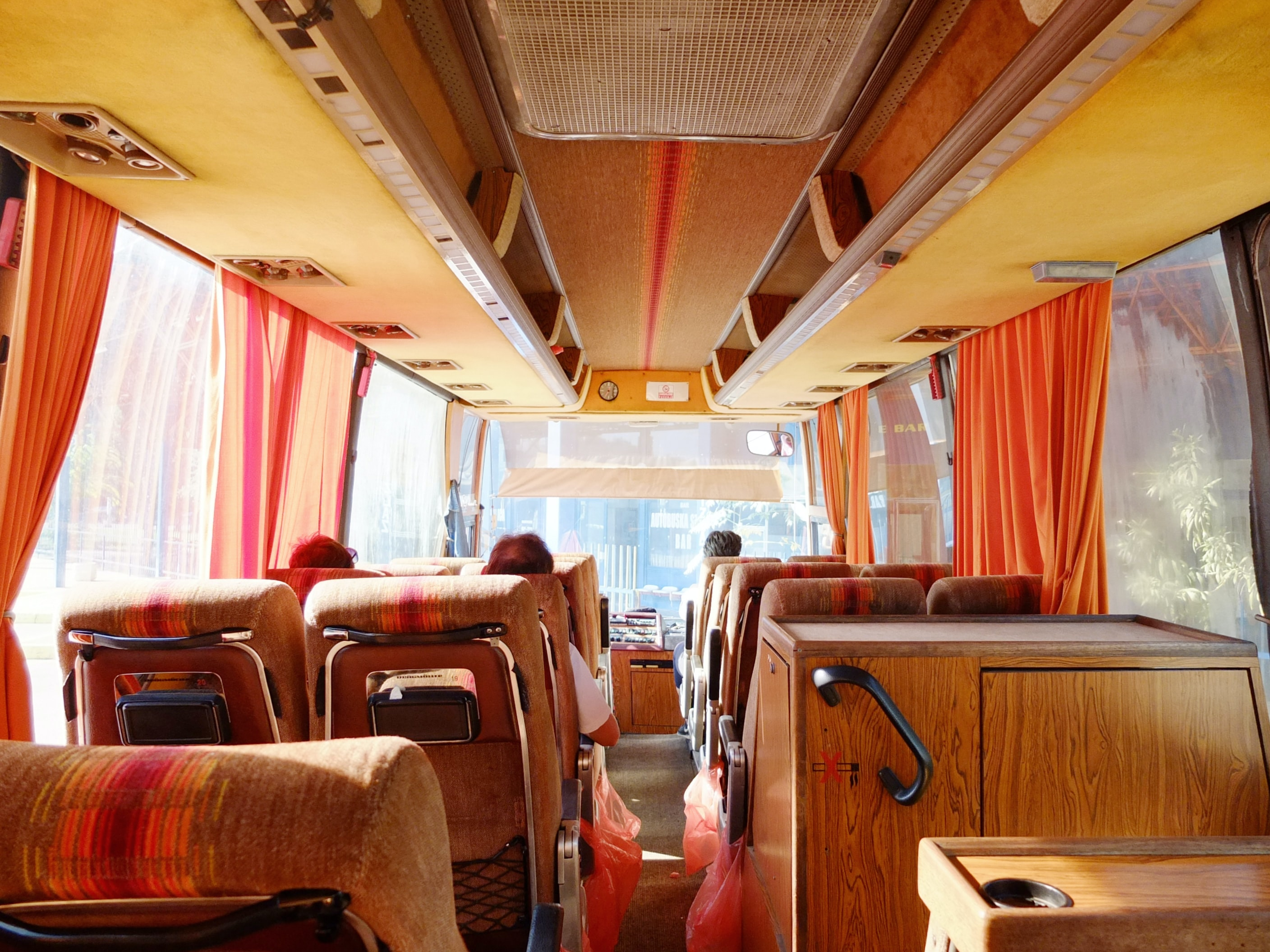 brown wooden interior bus