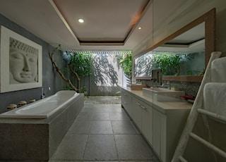 white ceramic bathtub beside gray wall