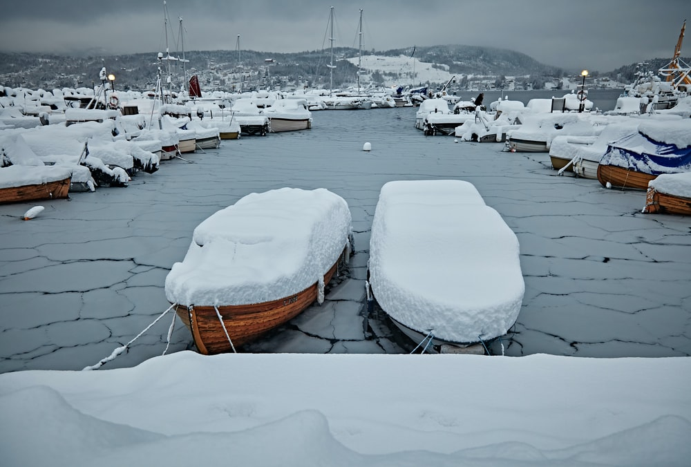 boat cover with snow photography