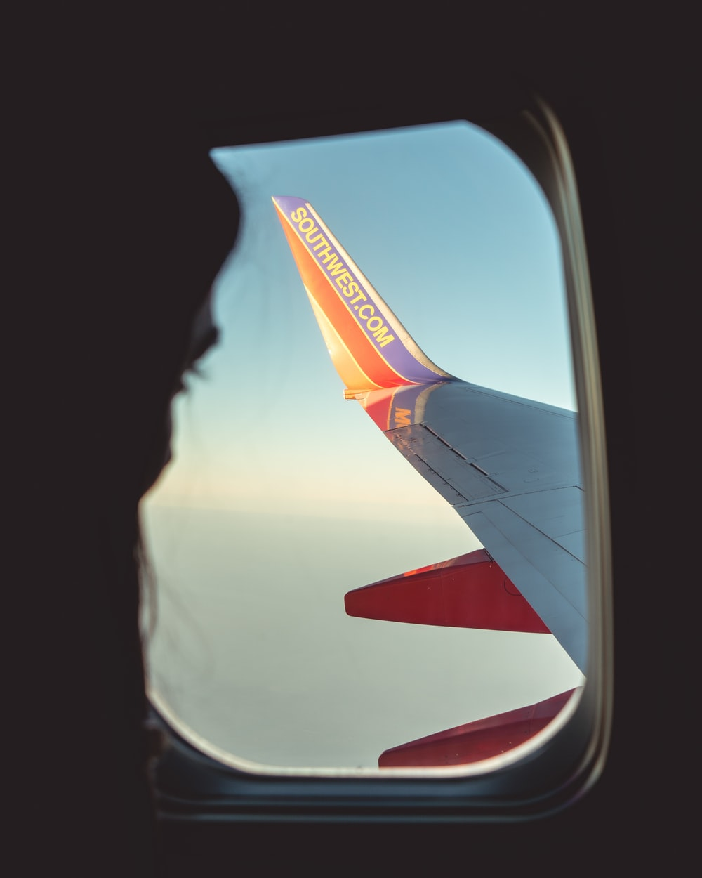 silhouette of person looking at airliner wing