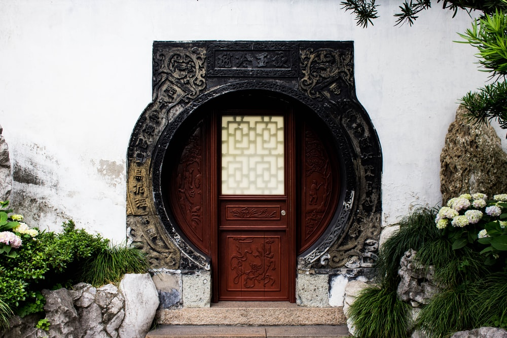 close-up photography of closed wooden door near tree and plants