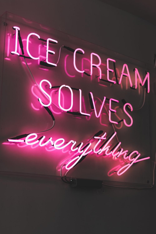 pink ice cream LED sign