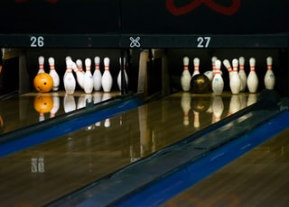 two set of bowling pins