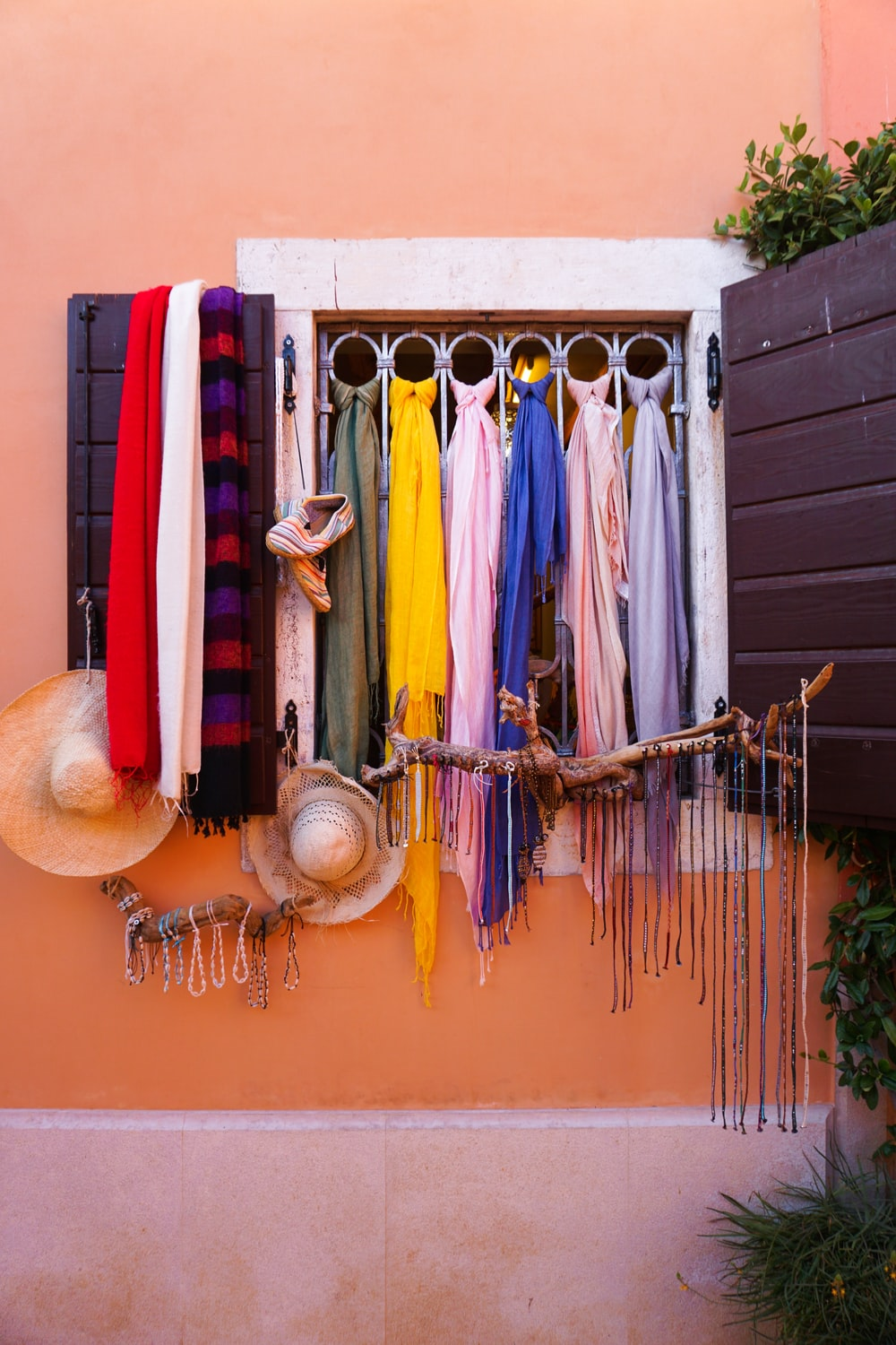 assorted color textile hanging on wall