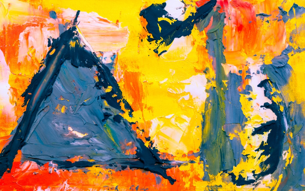yellow red and black abstract painting