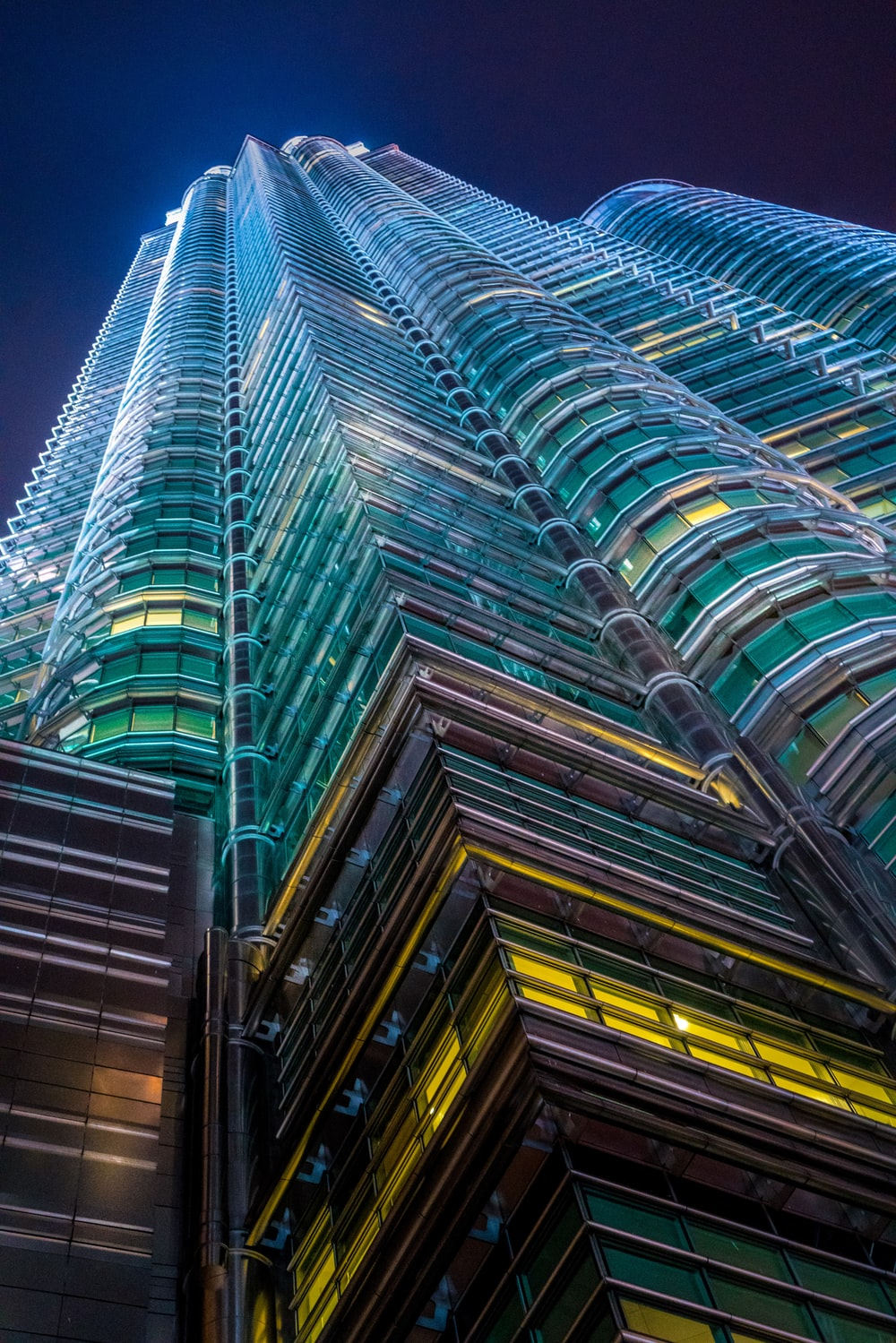 low-angle photography of curtain wall buinding