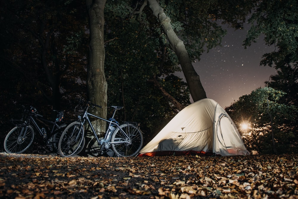 black and gray bikes near white camping tent and tall trees