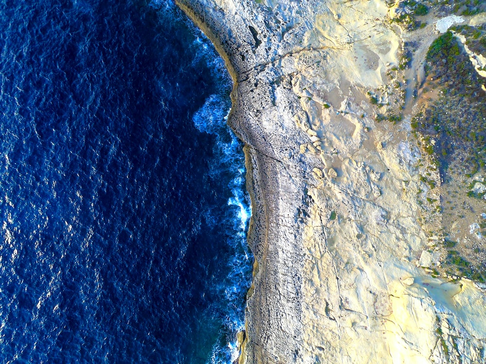 aerial photography of beach shore