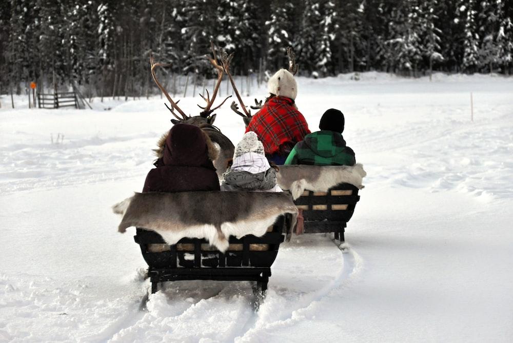 four person sitting on snow sleigh
