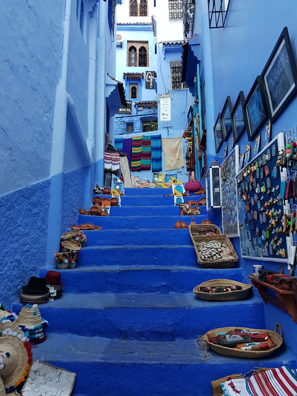 assorted baskets on stair (travel Morocco)