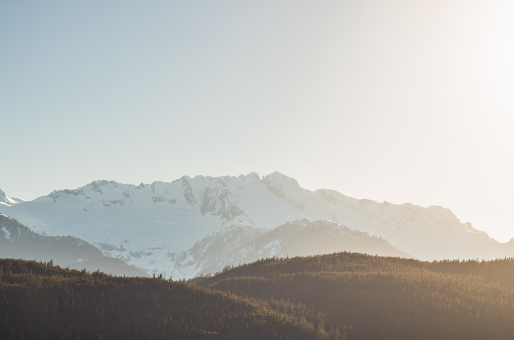 mountains covered by snow during golden hour