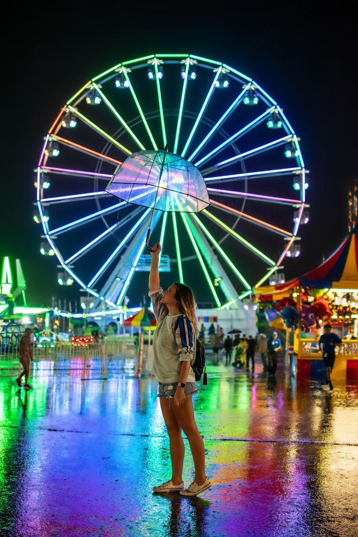 woman in amusement park