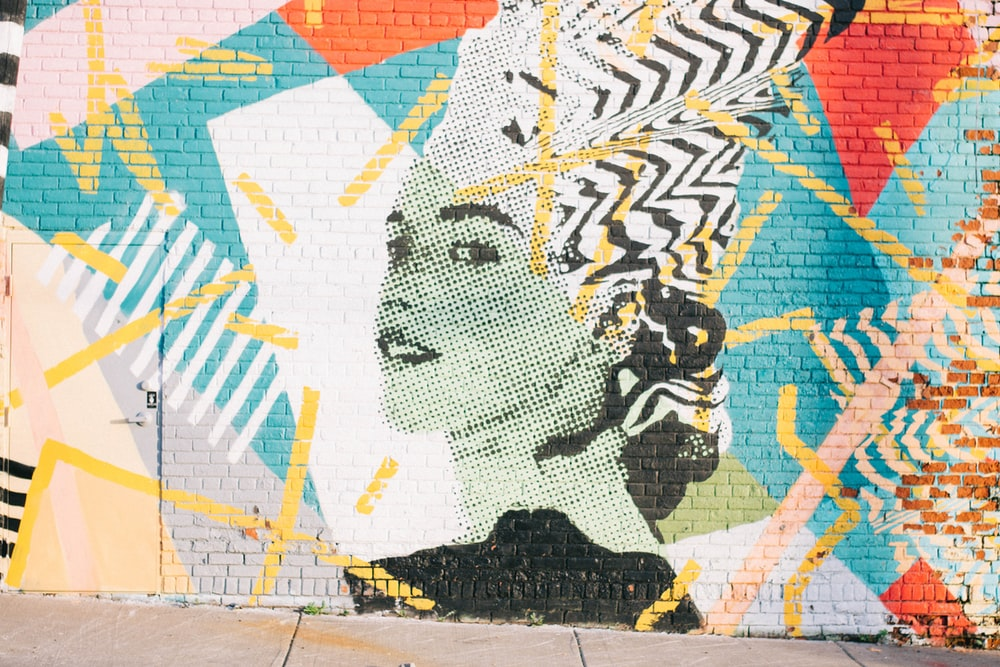 woman portrait painted on wall
