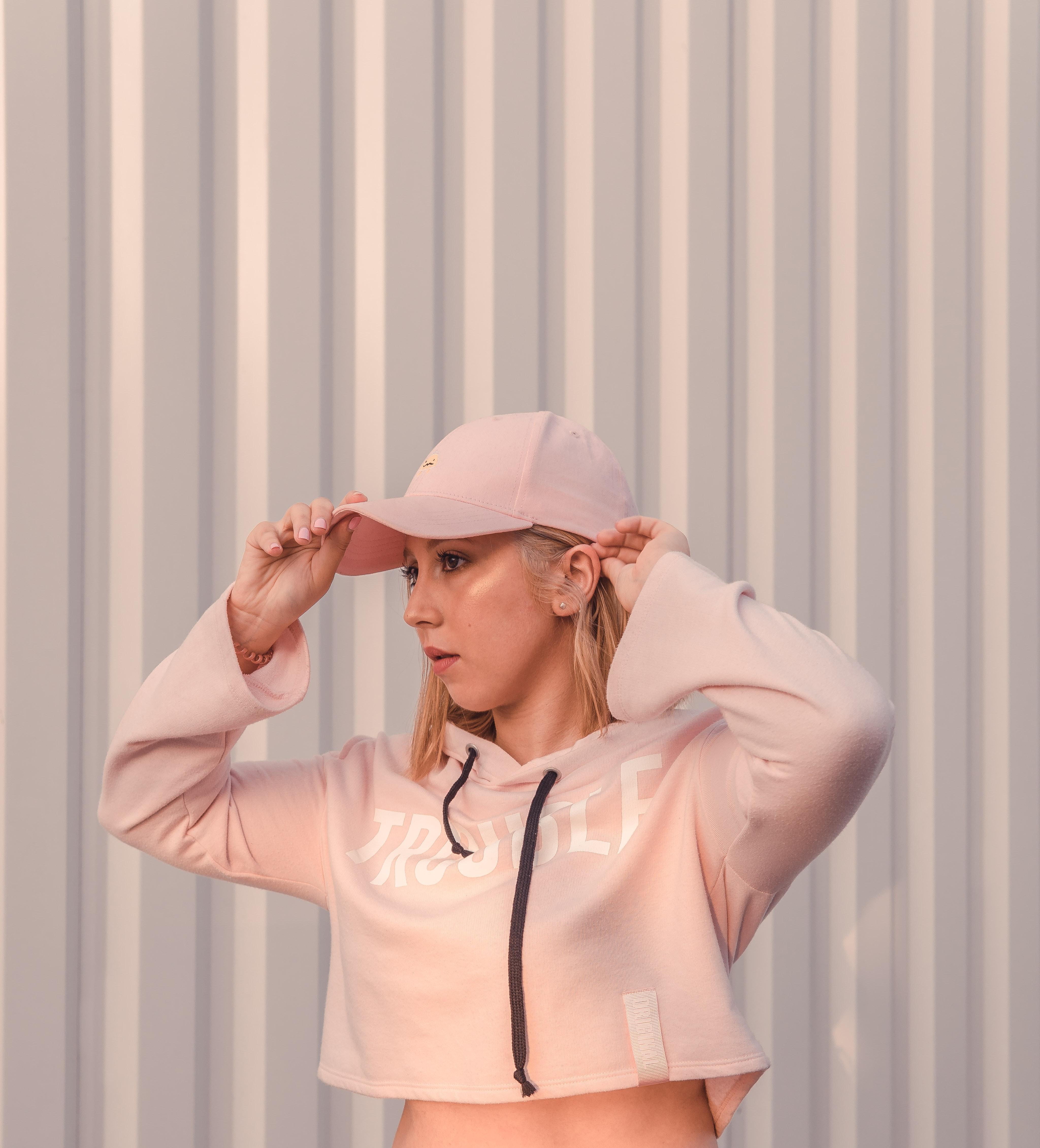 women's pink full-zip hoodie