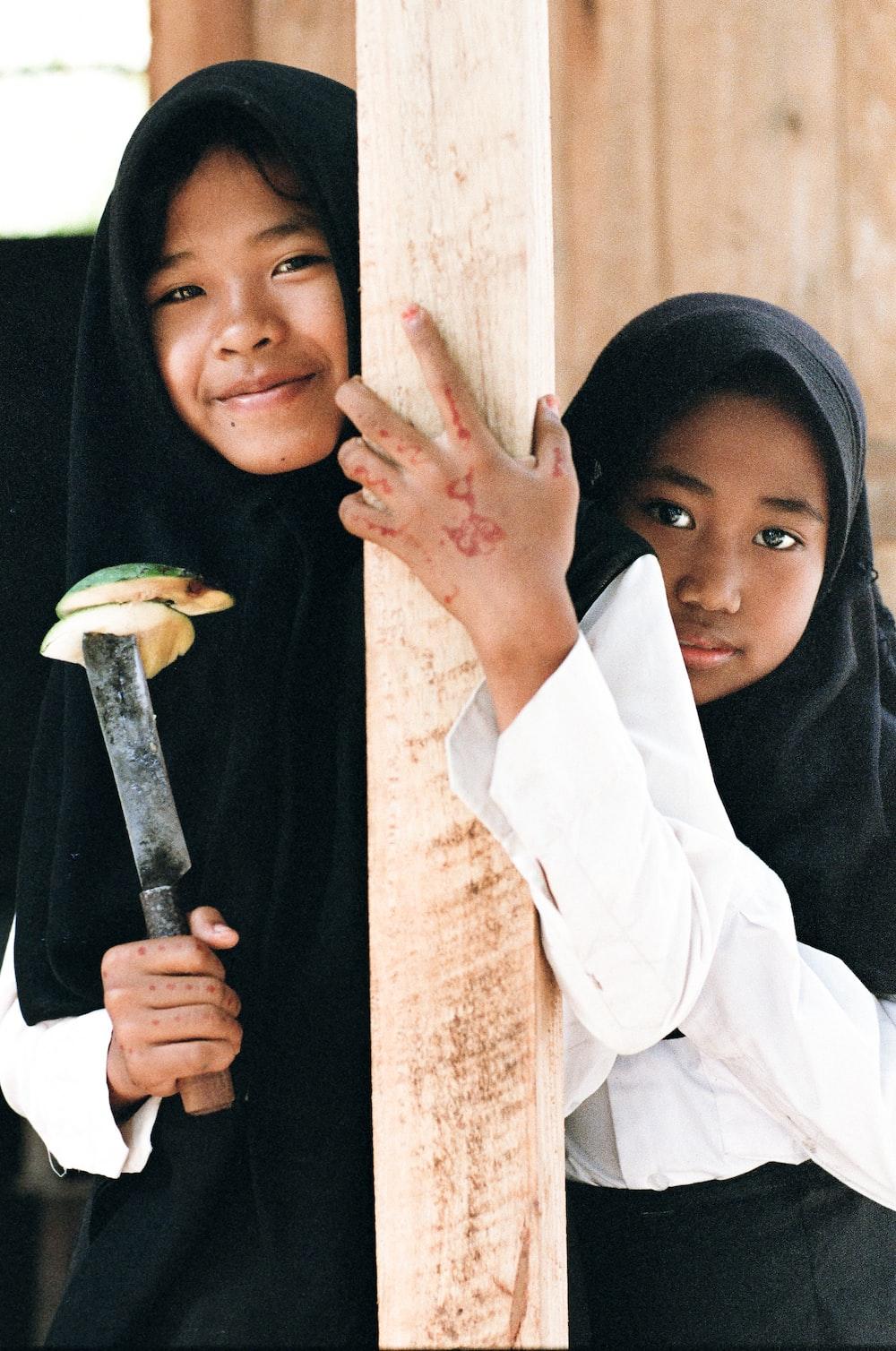 girl holding knife