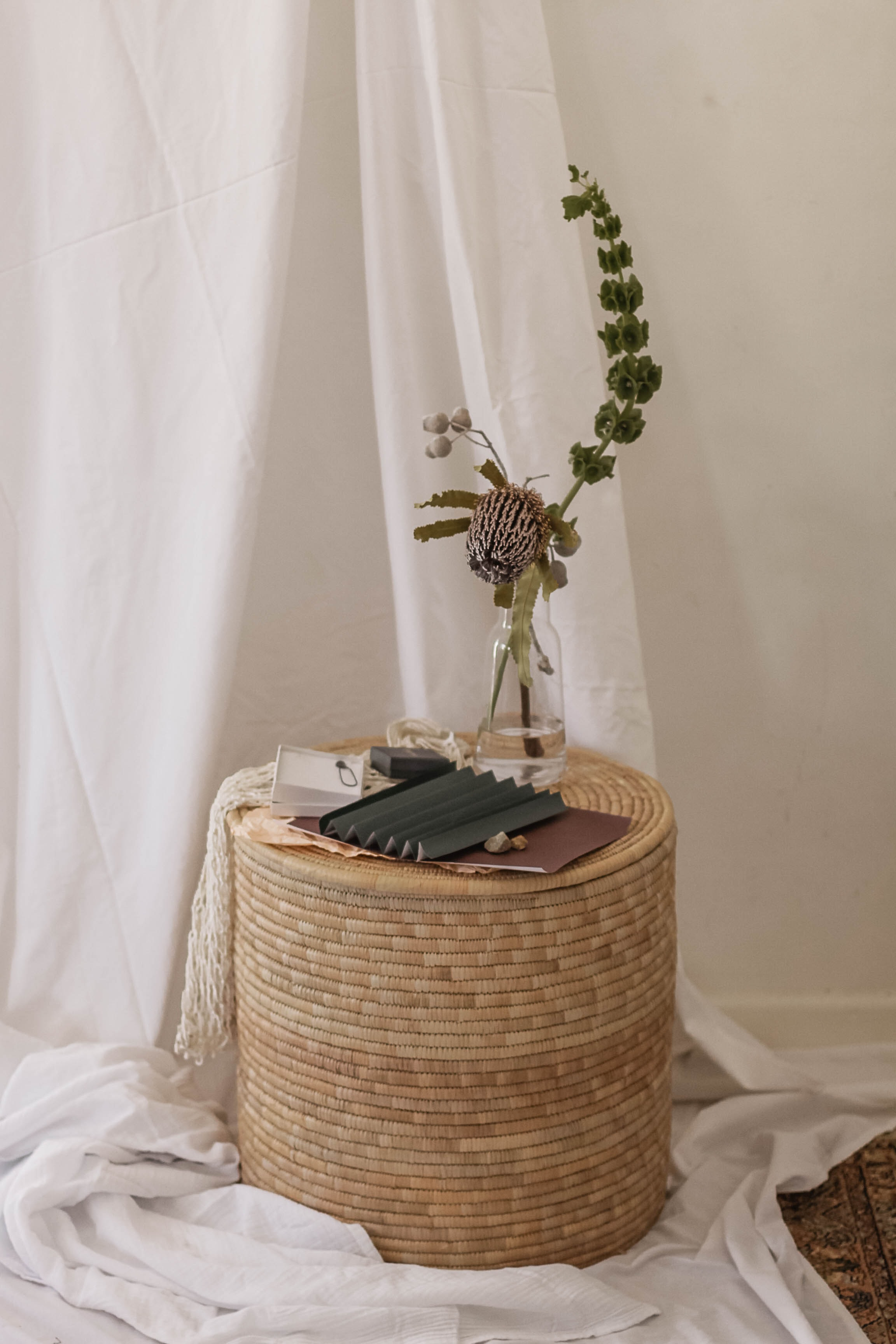 plants in glass bottle on brown wicker table