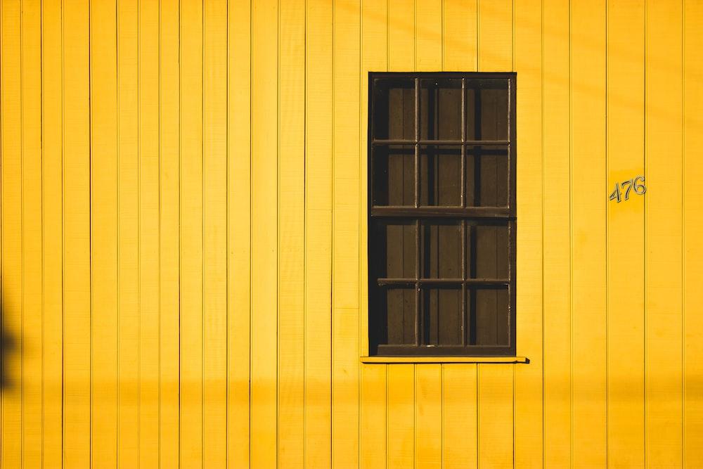 black wooden window