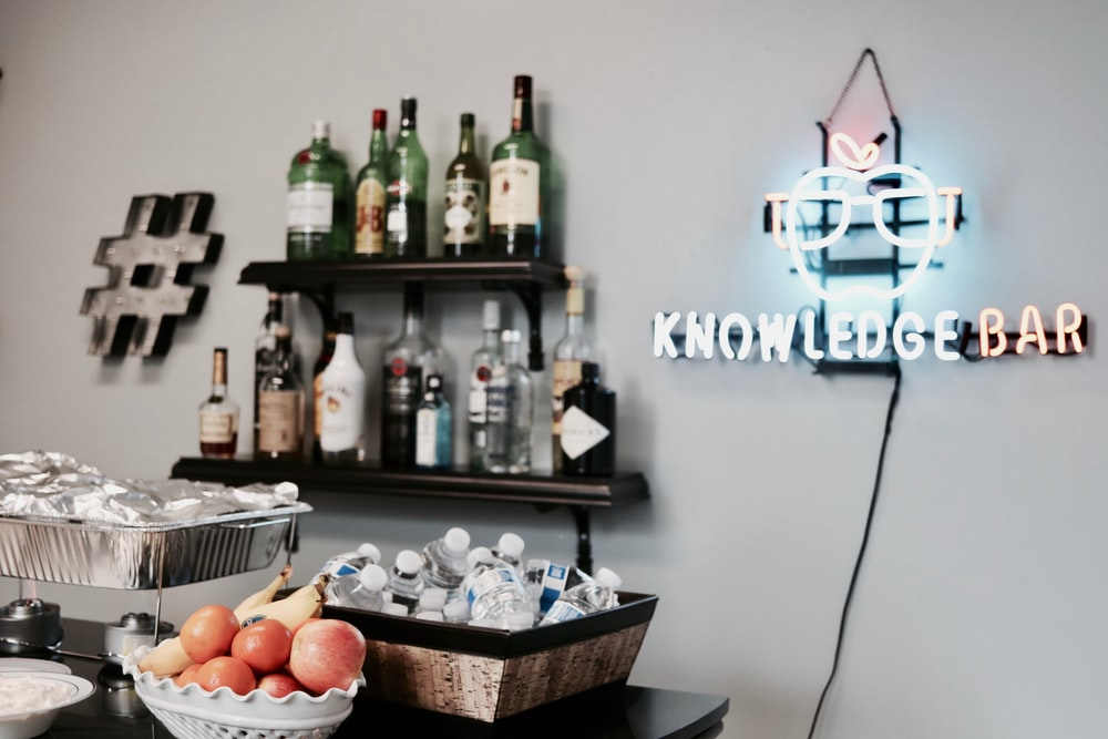 lighted knowledge bar neon light signage