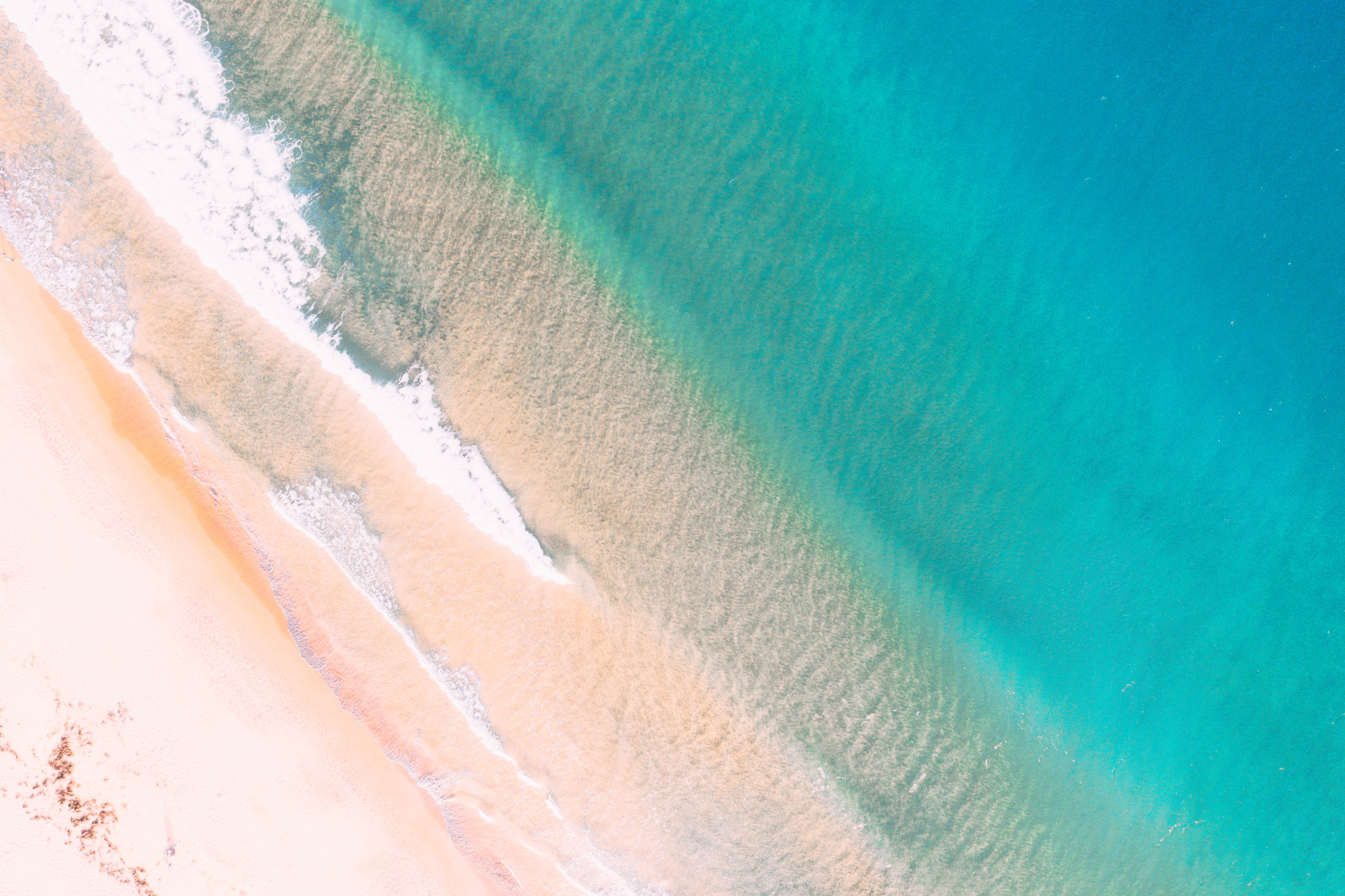 aerial photography teal body of water and shore