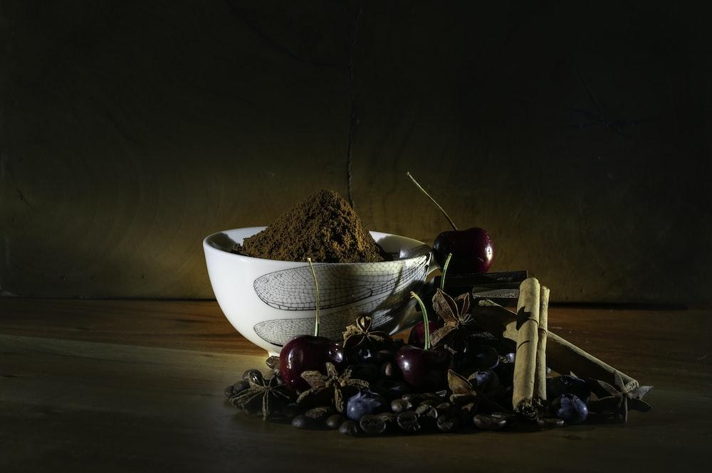 round white bowl with brown powder