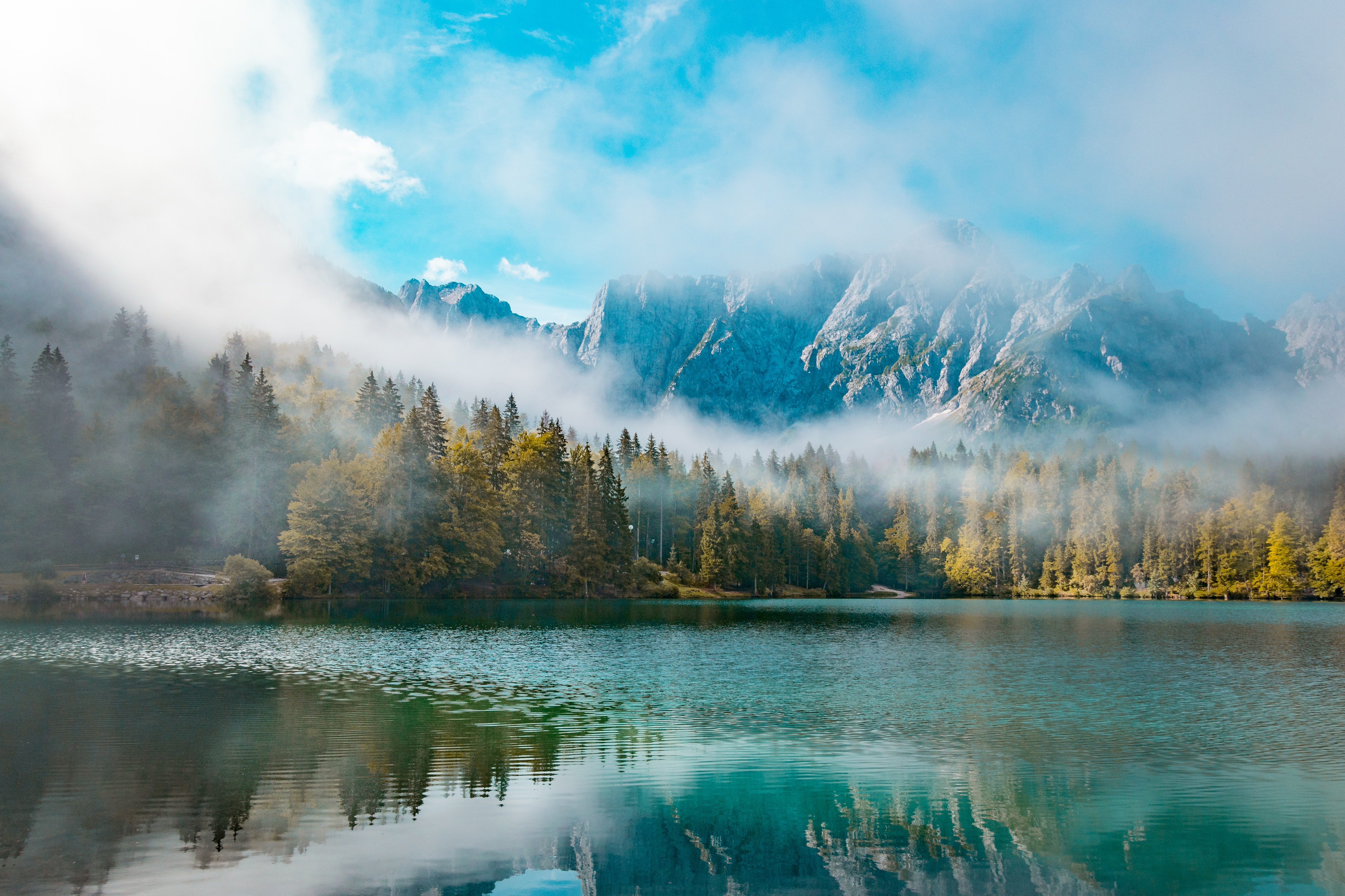 mountain covered with fog digital wallpaper