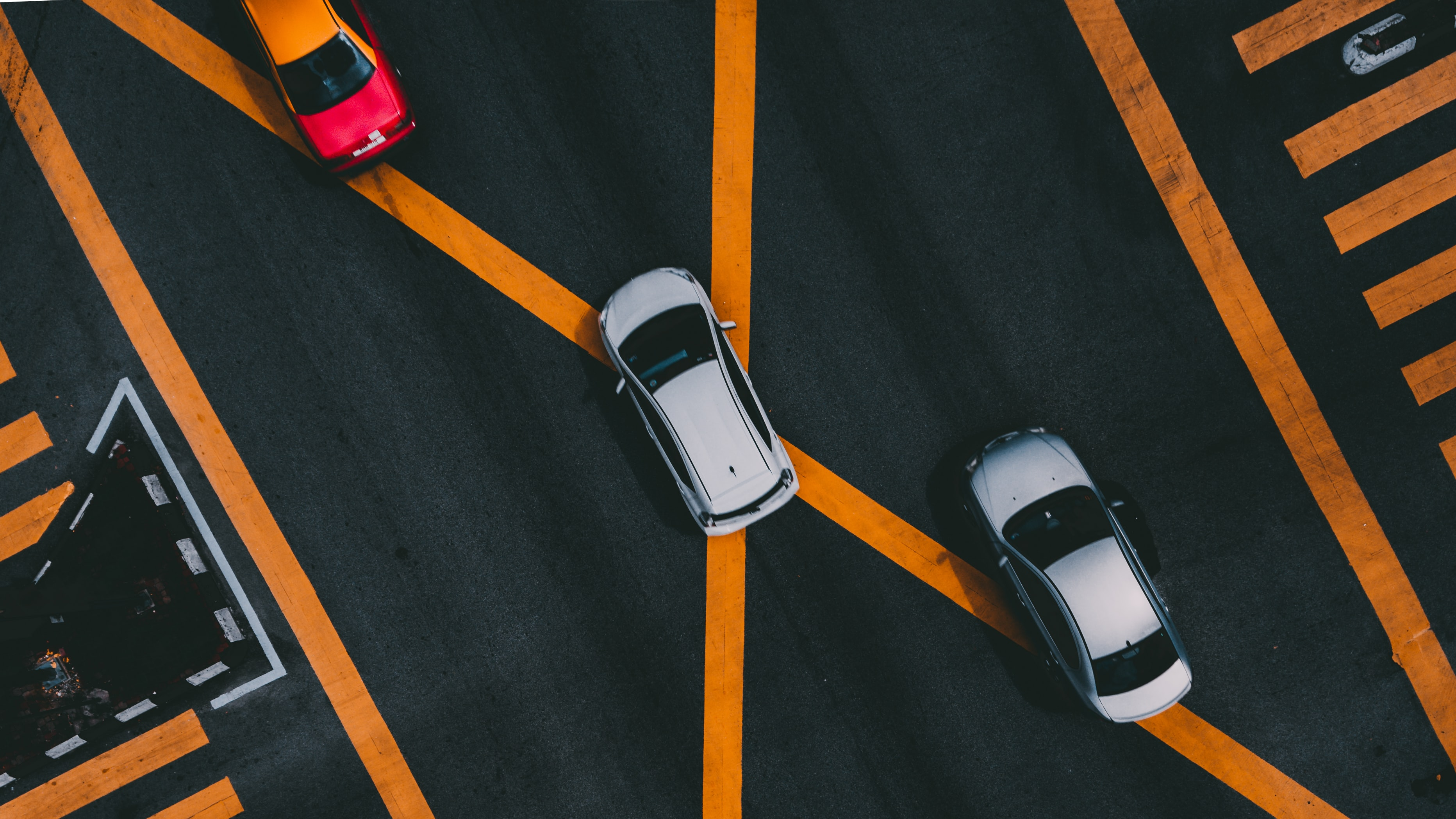 aerial photography of white car