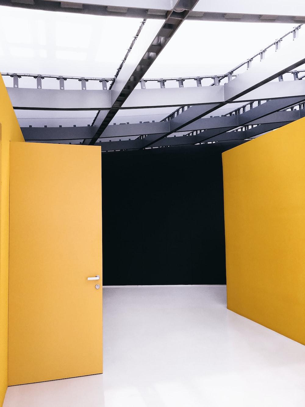 yellow wooden door open
