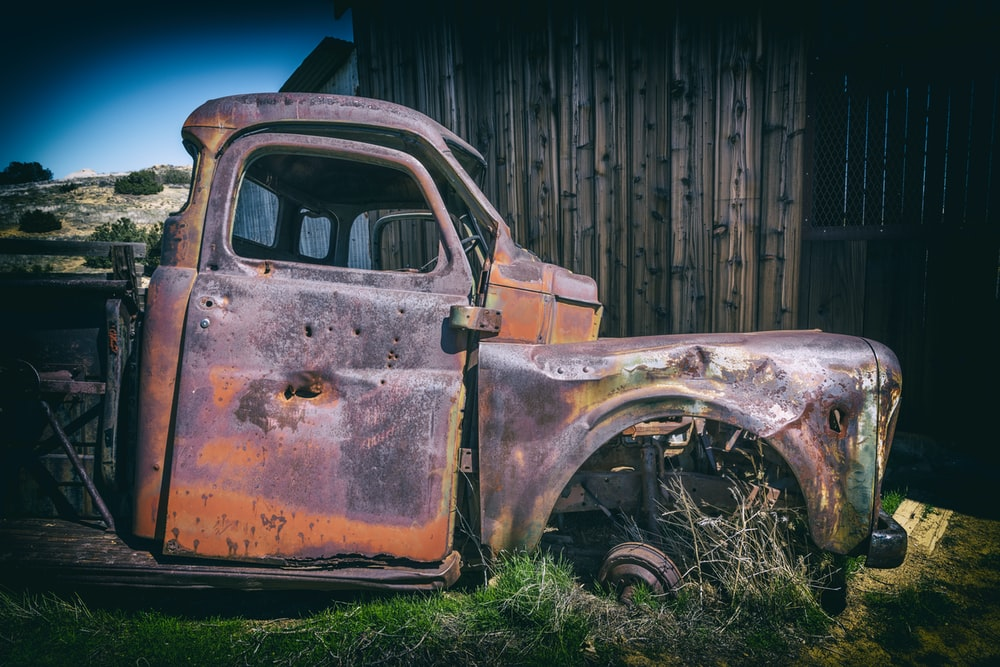 close photography of vintage car