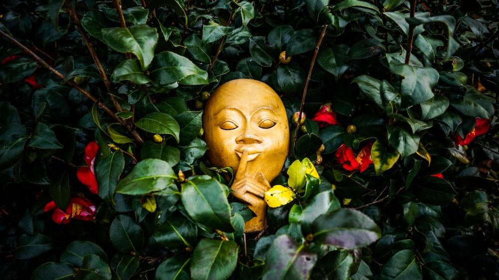 white mask beside plants