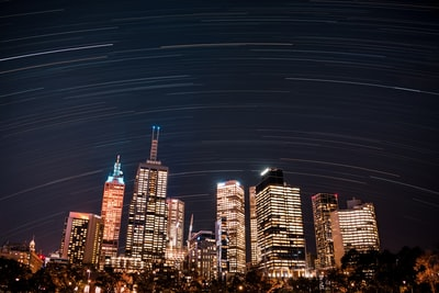 Melbourne city with high-rise buildings at night