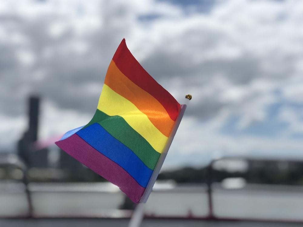 raised rainbow flag