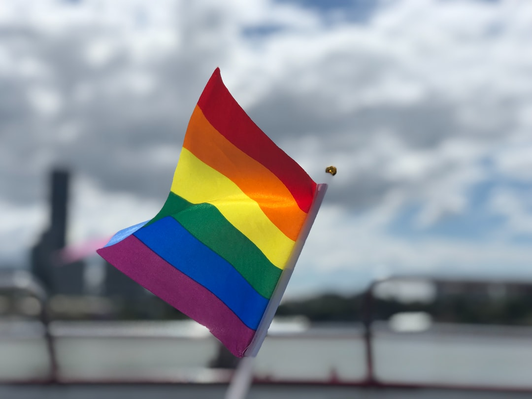 raised rainbow flag