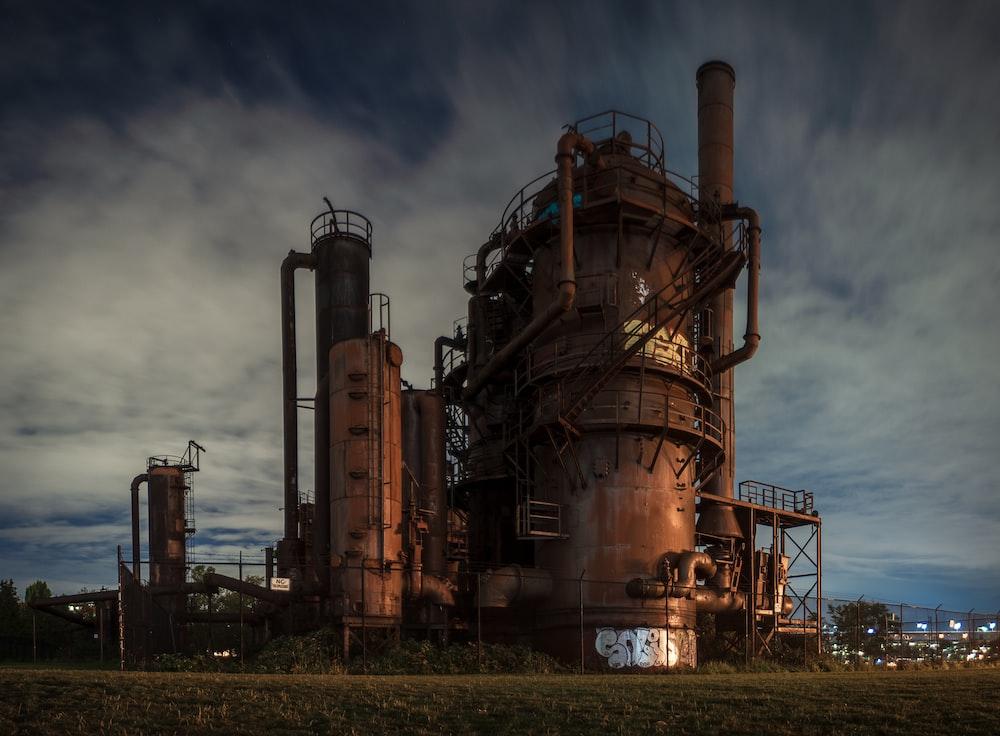 brown steel abandoned factory