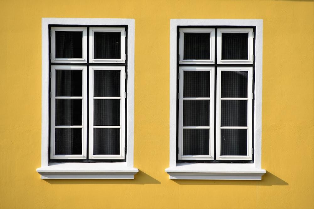 two white wooden windows