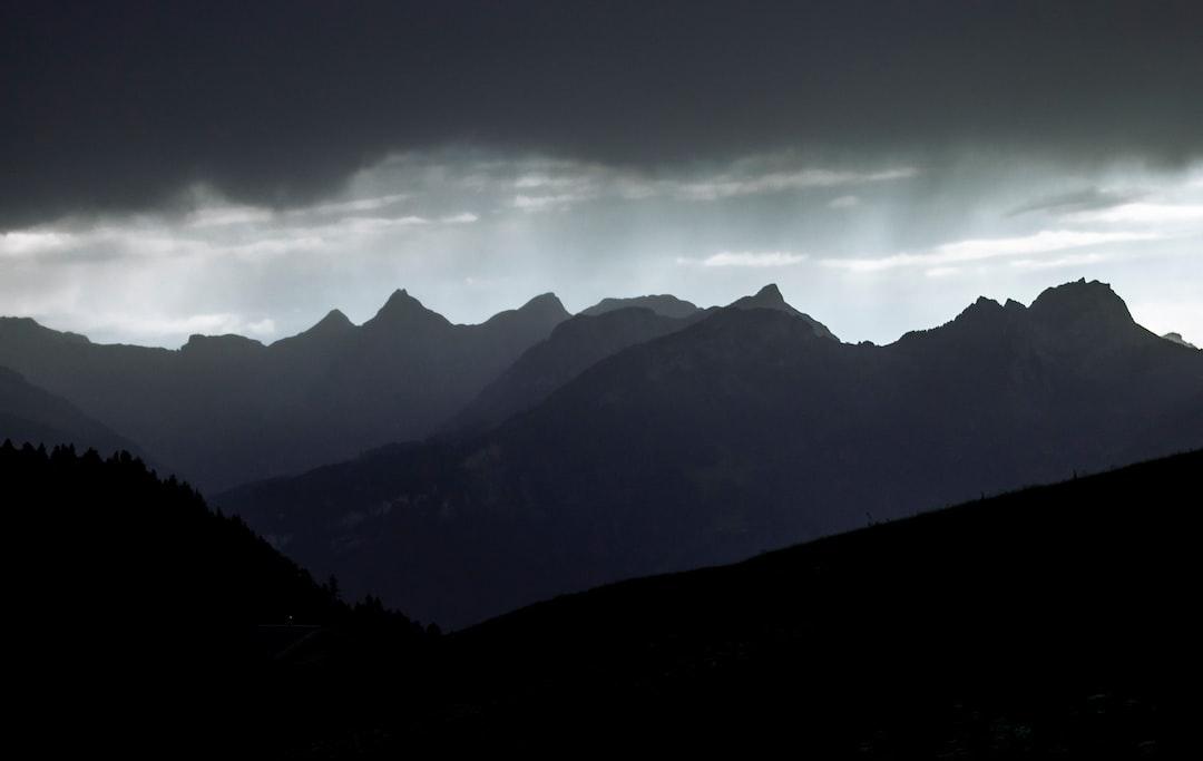 Mountain range during storm