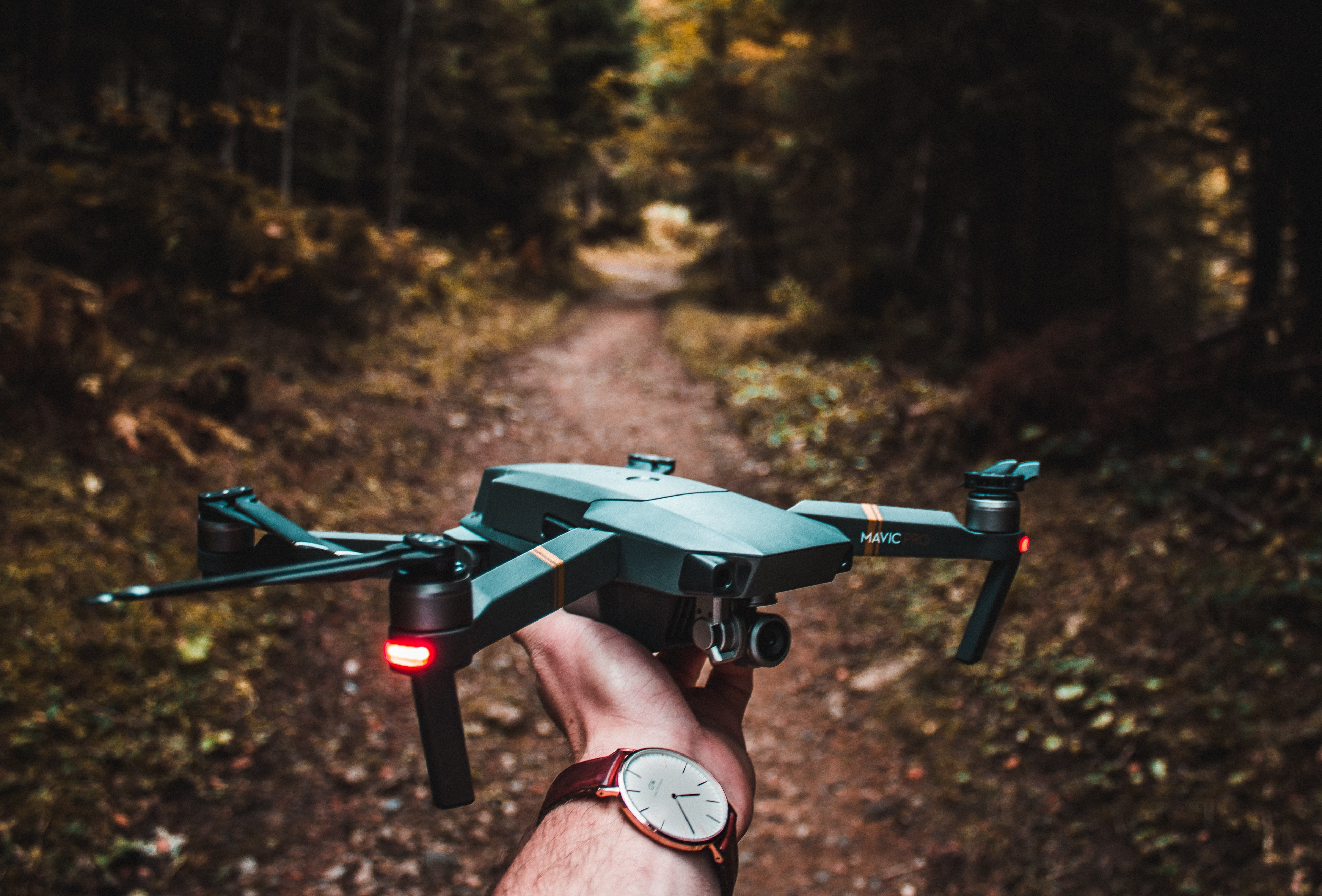 person holding black quadcopter