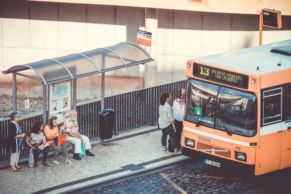 people riding on bus