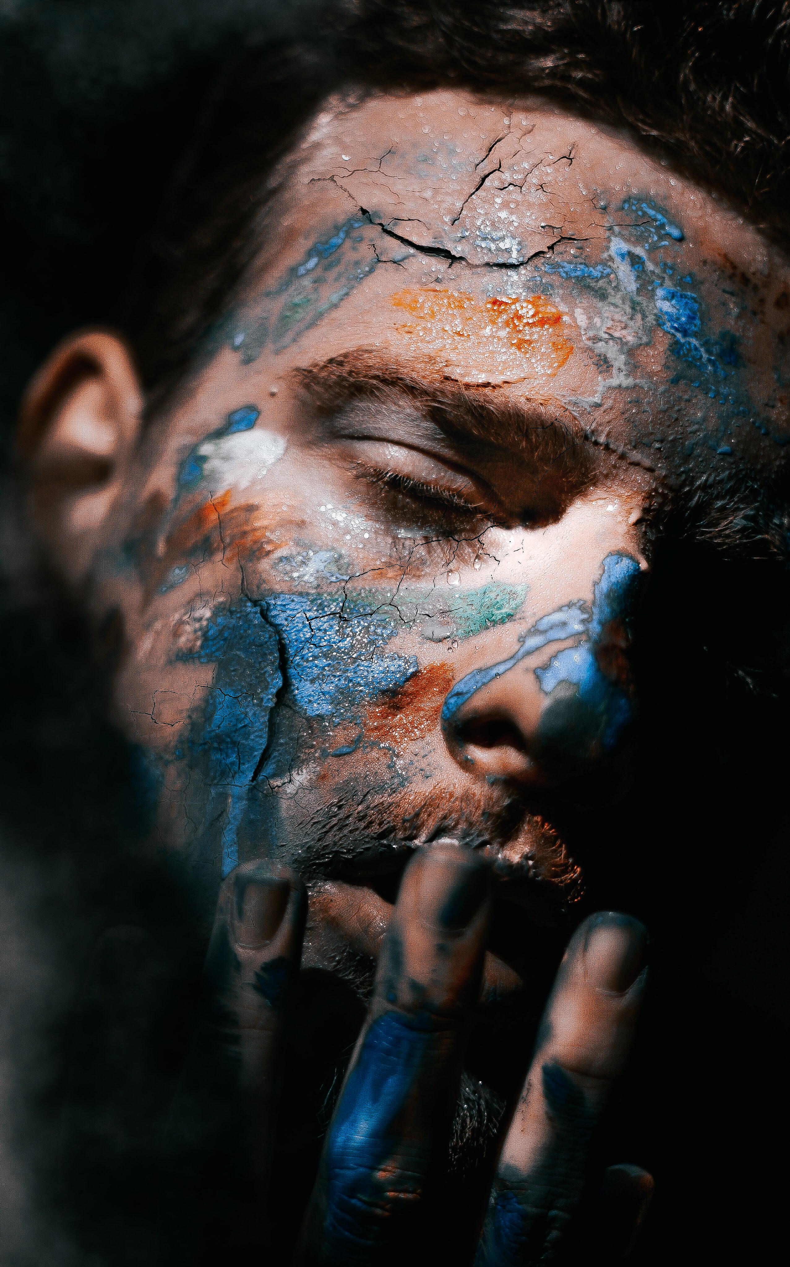 man's face with painting