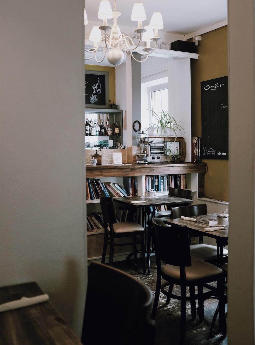 black dining set in room