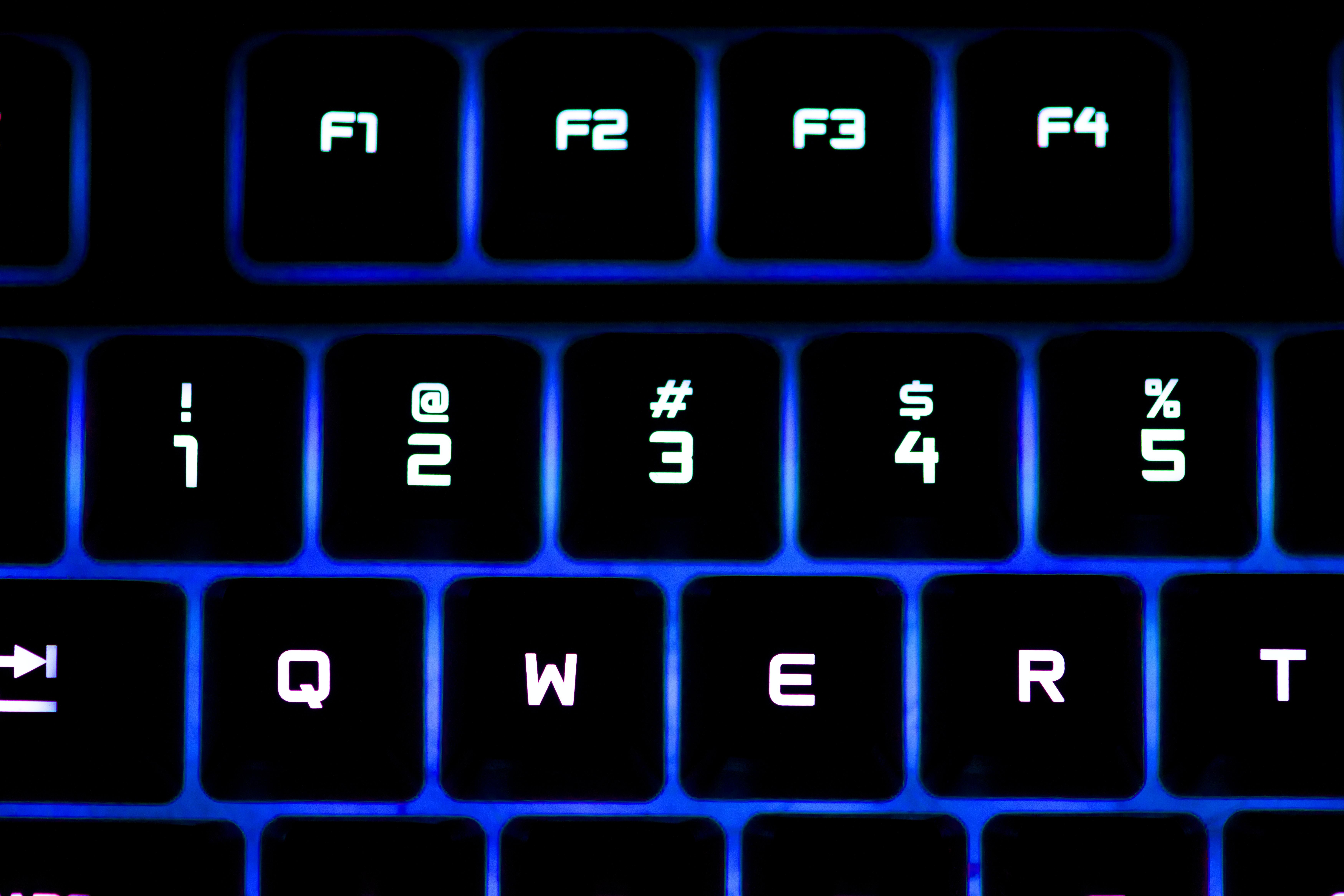 black LED computer keyboard keys