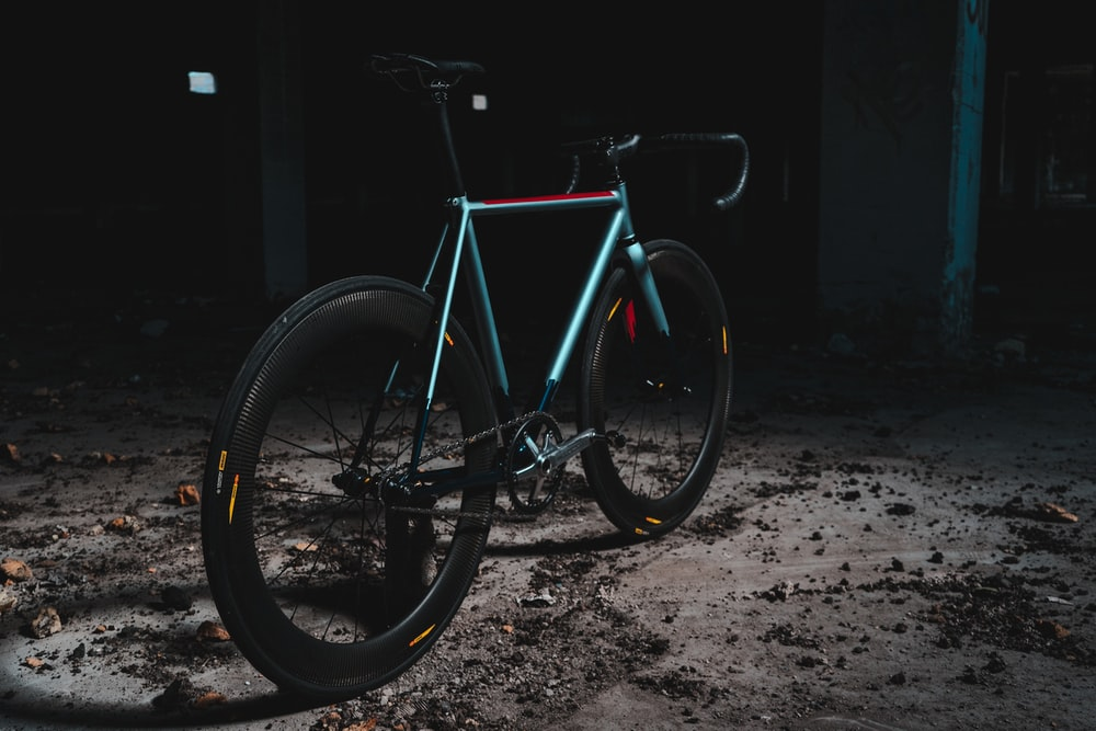blue and red road bike