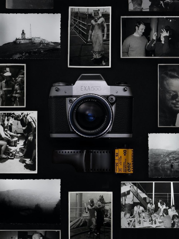 silver and black Exa 500 film camera