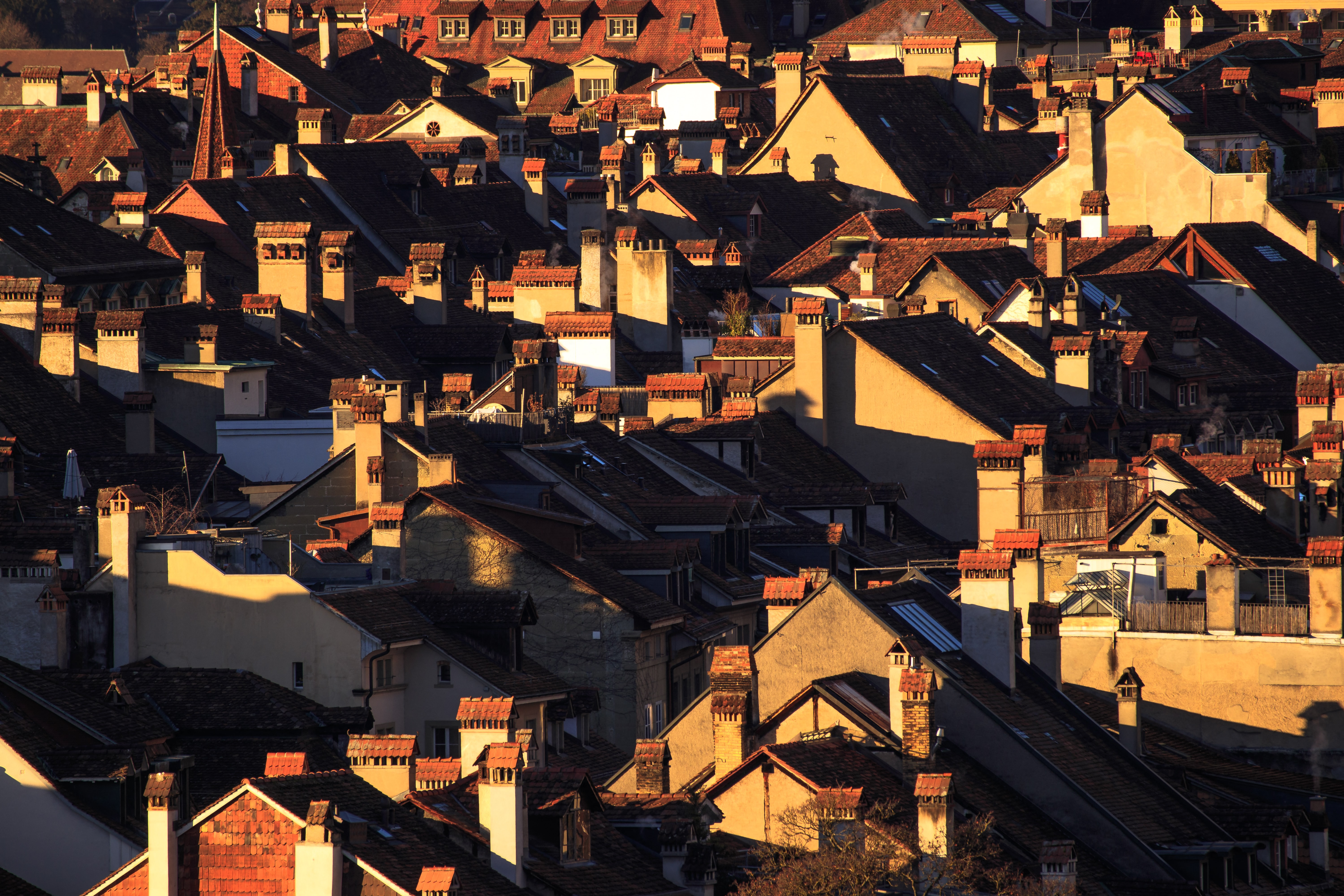high angle photography of housing during golden hour